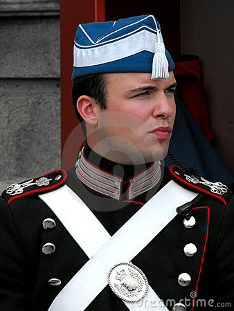 Royal Guard at Amalienborg Castle, Copenhagen Editorial Stock Photo