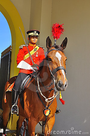 Royal guard on horse guarding the palace Editorial Photo