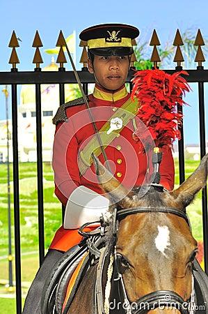 Royal guard on horse guarding the palace Editorial Image