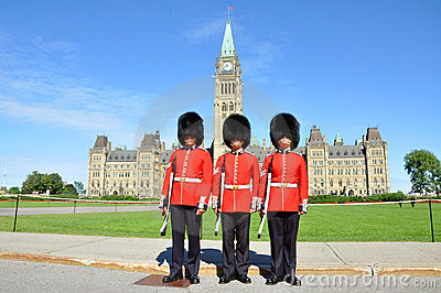 Royal Guard on Parliament Hill, Ottawa Editorial Stock Image