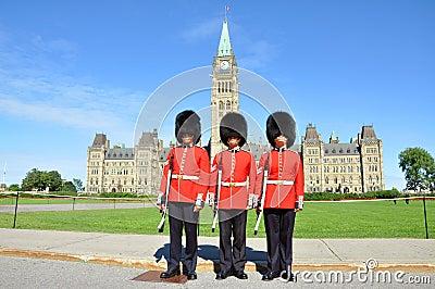 Royal Guard on Parliament Hill, Ottawa Editorial Stock Image