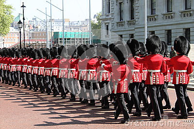 Royal Guards march toward Buckingham Palace Editorial Photography