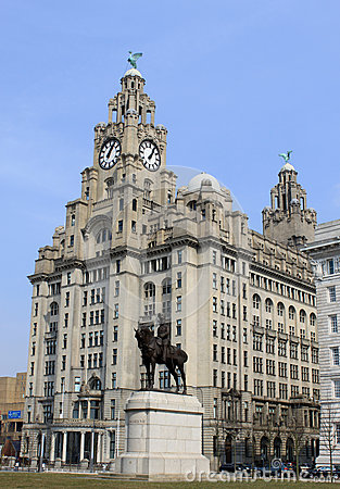Royal Liver building and King Edward VII statue Editorial Image