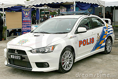 Royal Malaysian Police Mitsubishi Lancer Evolution Editorial Photography