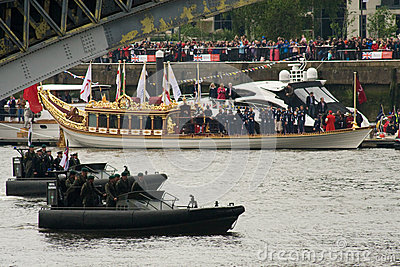 The Royal Marines and the Royal Barge, Gloriana Editorial Stock Image