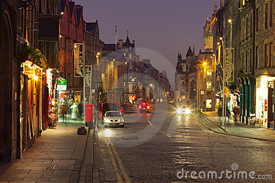 Royal Mile at dusk. Edinburgh. Scotland. UK.