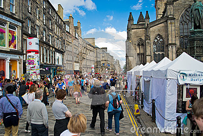 Royal Mile during festival Editorial Photo
