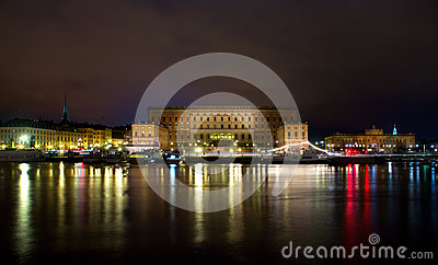 Royal palace in Stockholm at night
