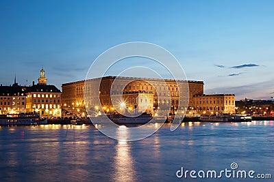 Royal Palace in Stockholm At Night