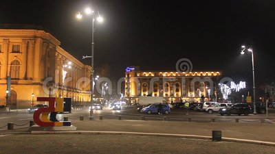 Royal Palace und Hilton Hotel in Bukarest stock video footage