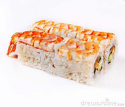 Royal shrimp sushi roll