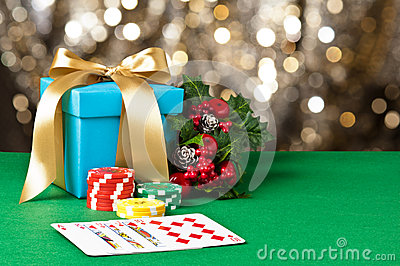 Royal straight flush in Christmas setting