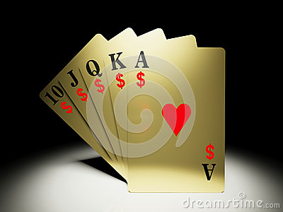 A royal straight flush hand with money symbol/