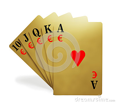 A royal straight flush with money symbol