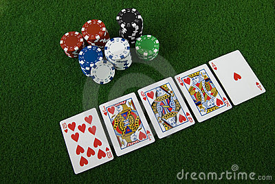 Royal straight flush and poker chips