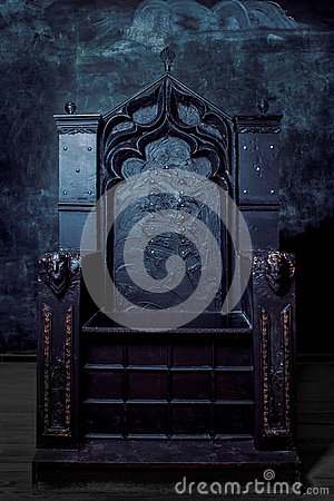 Free Royal Throne. Dark Gothic Throne, Front View Stock Image - 51639591