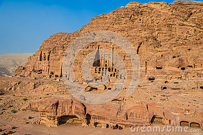 Royal tombs in nabatean city of  petra jordan