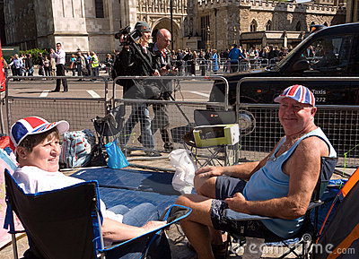 Royal Wedding campers, Westminster Abbey. Editorial Image