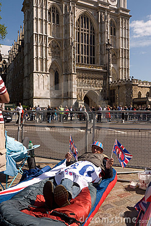 Royal Wedding campers, Westminster Abbey. Editorial Photography