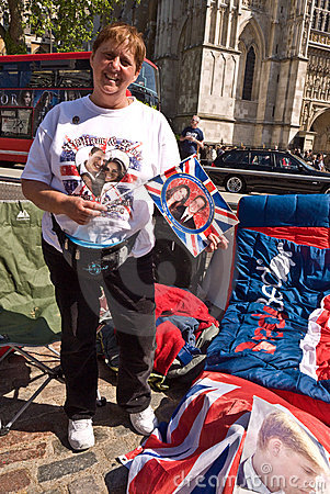 Royal Wedding campers, Westminster Abbey. Editorial Stock Image