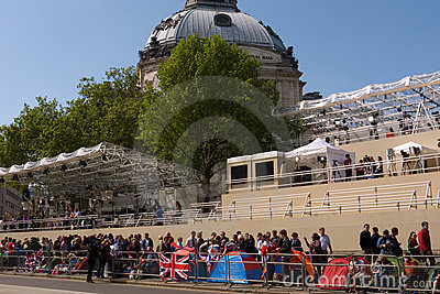 Royal Wedding campers, Westminster Abbey. Editorial Stock Photo