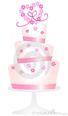Roze Daisy Heart Cake