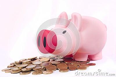 Roze geldspaarvarken dat euro muntstukken bewaart