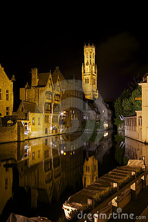 Rozenhoedkaai canal and Belfort Tower in Bruges