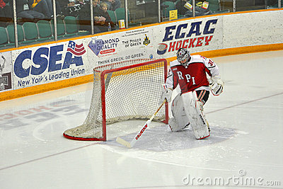 RPI goalkeeper warmup in NCAA Hockey Game Editorial Photo