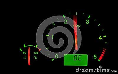 Rpm meter in a car