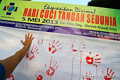 Rörelse som Handwashing Redaktionell Arkivfoto