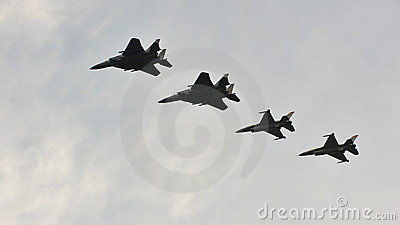 RSAF F-15SG & F-16C/D in formation Editorial Photo