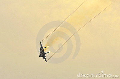 RSAF F-15SG Strike Eagle flying in the sky Editorial Stock Image