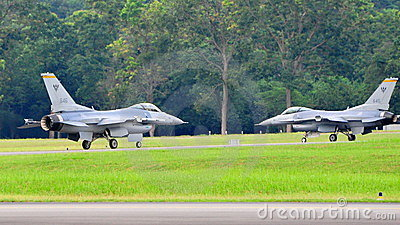 RSAF F-16C/D Fighting Falcon scrambling Editorial Image