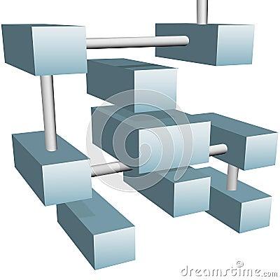 Réseau informatique abstrait de cubes en connexions 3d