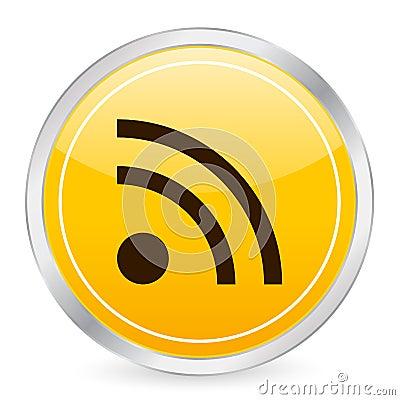 Rss symbol yellow circle icon  Editorial Stock Image