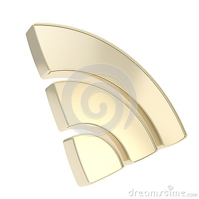 RSS of wifi signal emblem icon isolated on white