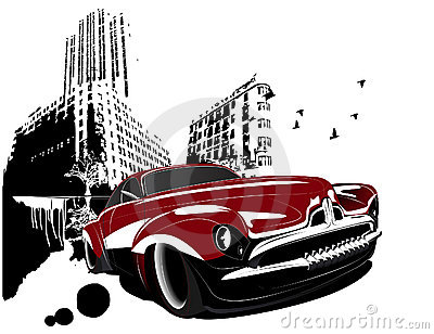 Rétro grunge classique de ville de véhicule de construction