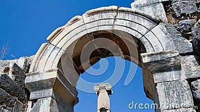 Ruínas da antiguidade em Ephesus
