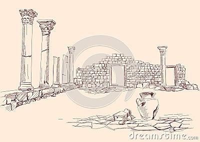 Ruínas da mão da arqueologia do templo desenhada