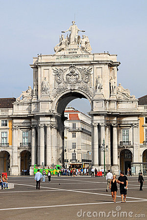 Rua Augusta Arch at Palace Square in Lisbon Editorial Stock Photo