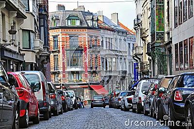 Rua da cidade de Bruxelas Foto de Stock Editorial