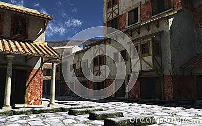 Rua romana antiga com aqueduto