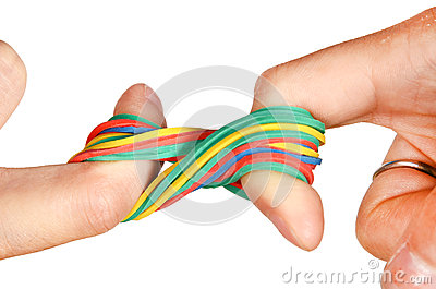 Rubber band and hand