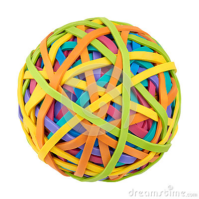 Rubber bands for money on a white background. Symbol of globalization,