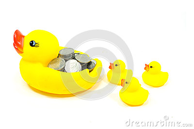 Rubber duck and coin