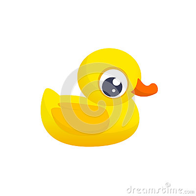 Free Rubber Duck Toy. Minimalistic Flat Color Icon. Pictogram Symbol. Cartoon Ducky Vector Illustration. Stock Images - 95441564