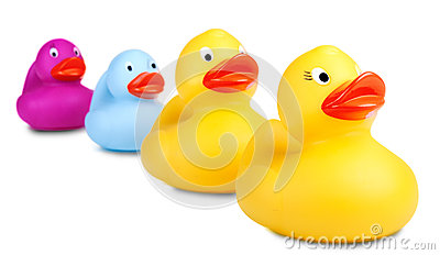 Rubber ducks selective focus