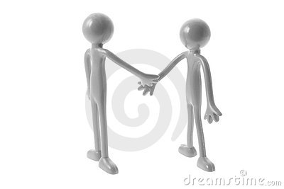 Rubber Figures Shaking Hands