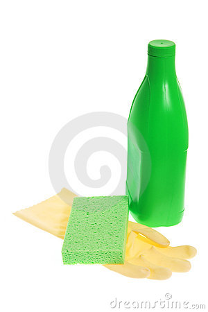 Rubber Glove with Sponge and Cleaning Detergent